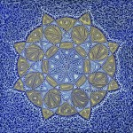 "Mandala - Blue Gold White Paint pen on canvas 8"" x 10"""