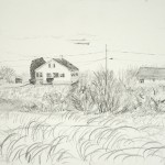 "Kennebunkport Beach Cabin, Maine - Pencil on paper, 12"" x 9"""