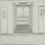 "Kennebunkport Beach Lockers, Maine - Pencil on paper, 9"" x 12"""
