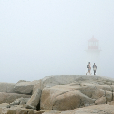 fog, rocks, Peggy's Cove lighthouse, walking in the fog